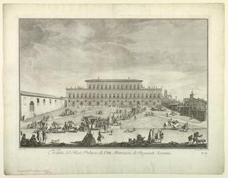 """Print, View of the Pitti Palace in Florence, Plate 2 from """"Scelta di XXIV Vedute delle principali contrade, piazze, chiese, e palazzi della Città di Firenze"""""""