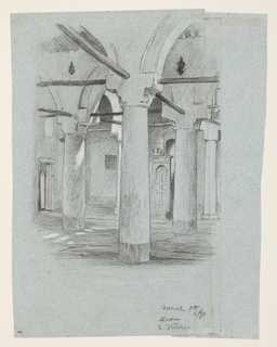 Interior of a columned hall, with a series of arches springing transversely from the columns. Braces at the level of the capitals run at right angles to one another.