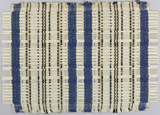 Sample of a curtain or room divider. Weft is blue and white cotton, black cotton, and ribbon making wide blue stripe, black and white lines. Warp is bamboo sticks interspersed with small group of Lucite sticks.