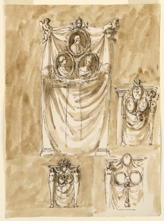 Vertical rectangle. Top row: two flying angels carry a curtain. In front of its upper part is the portrait of Pope Pius and below it those probably of Ferdinand I and Queen Maria Carolina (N.B. this reference was crossed out by PDM). Two crossed branches are below the latter. A supporting column is roughly indicated. At right in smaller scale. An entablature is supported by a column at left, a gaine at right. A curtain is in the intercolumniation with three portraits similarly disposed as at left. A flying angel supports the frames of the couple. Bottom row, at left: a design similar to the last one described, showing two gaines and no supporting angel. Two angels seem busy and are similar to those in 1901-39-1447. At right: a similar design. Not entirely shown. The portrait of the Pope is fastened in front of the entablature. The circular frames for those of the couple are connected like spectacles and supported by a support looking like a herm. Colored background.