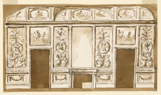 Drawing, Entrance wall of a salon