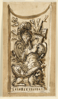 Drawing, Panel decoration with trophy of weapons