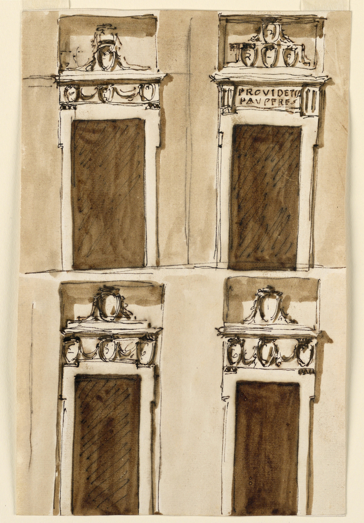 Drawing, Four projects for a door