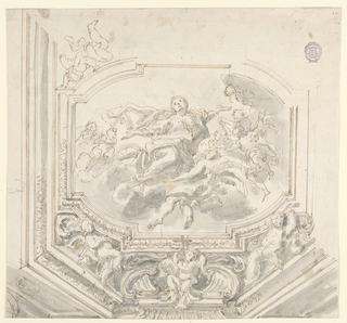 A framed central panel showing a woman with angels on the clouds. Below this, a detailed frame with three angels, one of which holds a cross.