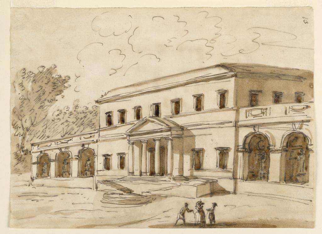 Drawing, View of a villa