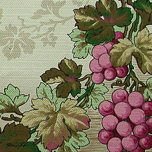 Swags of grape clusters on the vine, suspended from a vine running parallel to the top edge. The background colors shade from light at the top to darker at the bottom.