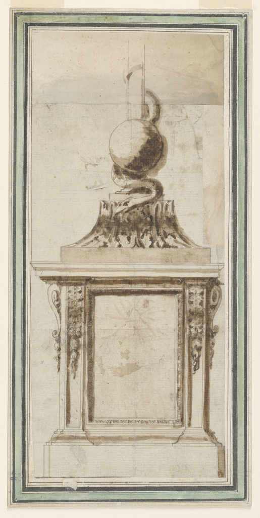 Pedestal in architectural forms, with brackets as capitals of pilasters. The Holy Trinity is sketched in the panel. A capital upsidedown serves as a base of the cross, over the foot of which a sphere is shown. A snake is wound around the bottom part with his head before the capital.