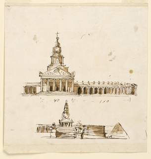 Drawing, Elevations of a mausoleum