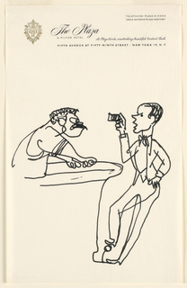 Caricature on stationery from The Plaza, New York.