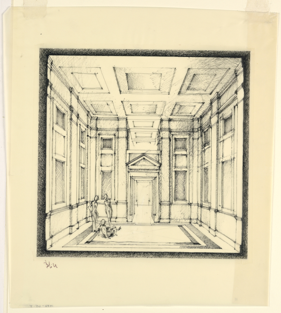 Drawing, Interior Perspective, Les Maisons Temple (Temple House), France