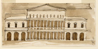 Drawing, Elevation of a villa