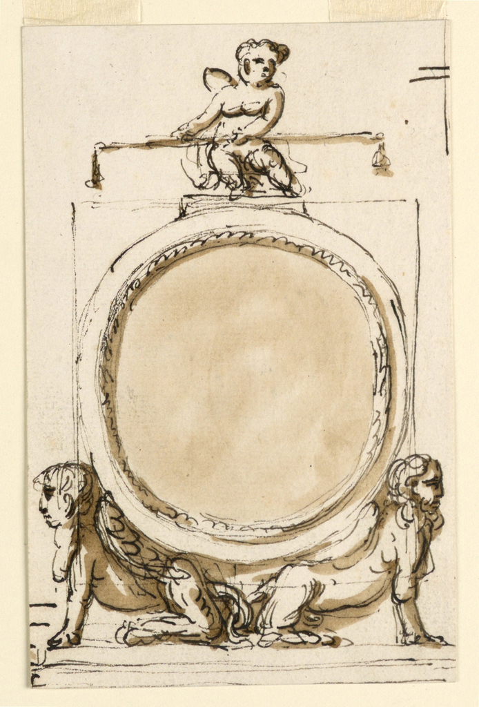 Vertical rectangle. A circular frame is inscribed into a square; it has on top a base upon which a putto sits carrying a balance, and is supported by two sitting, winged sphinxes, turned outwards. Below is a base. Above at right strokes.