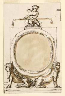 A circular frame is inscribed into a square; it has on top a base upon which a putto sits carrying a balance, and is supported by two sitting, winged sphinxes, turned outwards. Below is a base. Above at right strokes.