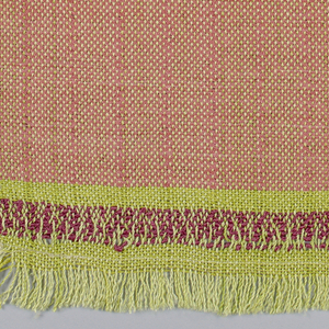 Lemon yellow twisted silk warp and salmon double-twisted silk weft, used in pairs, giving a changeable effect. Narrow salmon pencil stripe at intervals anchored by more widely spacing two warps at these points so that the salmon weft predominates in the overall tone of the fabric.