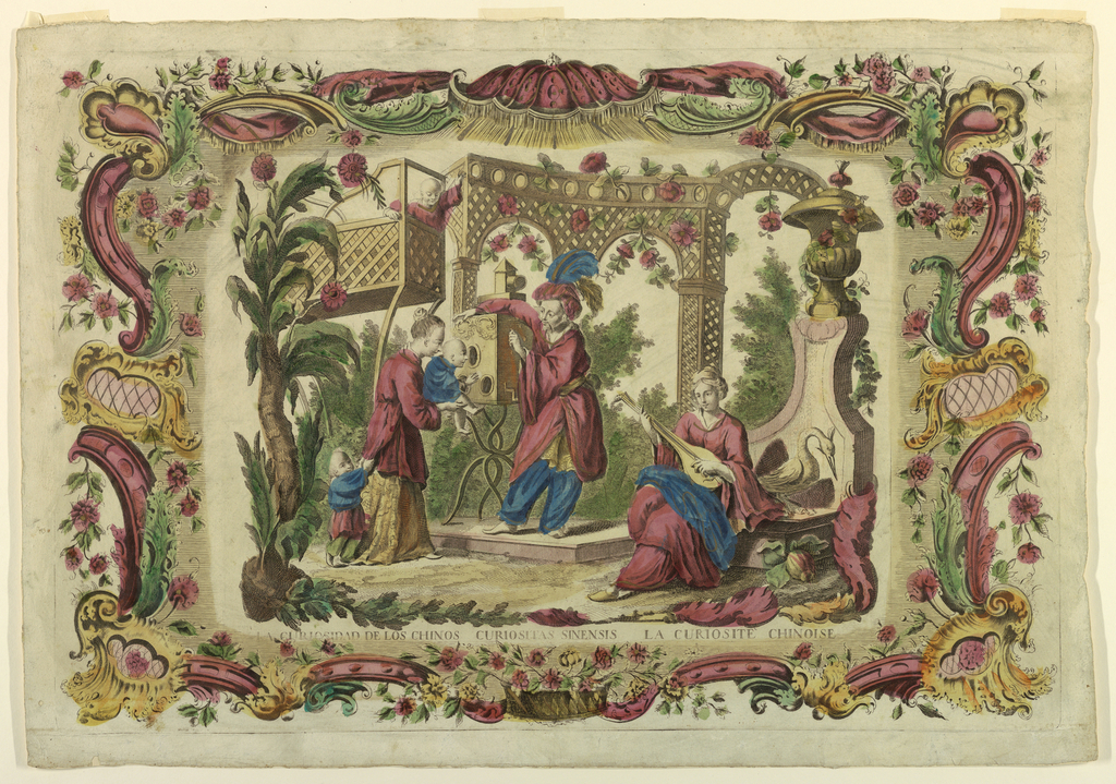 A woman holds a small child up to look into a peepshow operated by a man in plumed hat. A seated woman plays a lute, at right. Two other children at left, before a trellis arcade. Wide ornamental border composed of scroll motifs, flowers and a canopy at top.