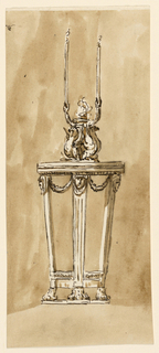 Drawing, Table with candlestick