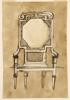 Square-backed chair with octagonal cushion and volutes on crest rail.
