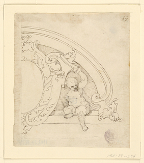 A seated child supports with his raised hand a scrolling architectural frame. Design is mainly in contours with hatching behind figure.