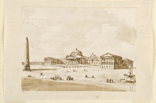 Large classical style palace in bare landscape; fountain on right, obelisk on left, and some carriages with figures in the foreground.