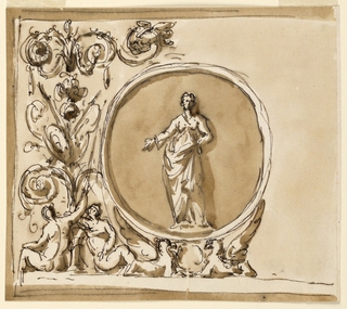 Roundel with a Sybil (?), grotesques for the decoration above the mirrors, noble cabinet, Palazzo Altieri.