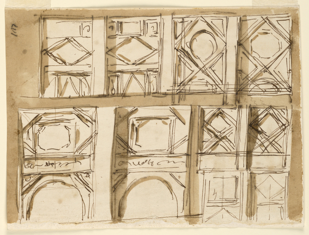 Several designs for ceiling decoration with geometric elements and some notional scrollwork or rinceaux motifs.