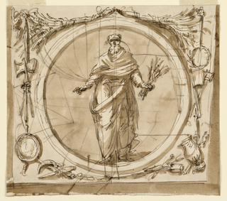 """Horizontal rectangle. An inner circular frame is rectangularly framed. In the center stands an old bearded man, with a bunch of branches in his left hand. On top are probably two bunches of ears of grain. From a bowknot at left hang, laterally, an ax and a mace (?), a basin, at right a wreath, two weapons or tools, and a pitcher. Below are more objects. On the reverse are two drawings referring to the construction of conches, an obelisk, and """"6 3 4 1/2"""". (RB '45)  Blank roundel, flanked by grotesques, for the decoration above the mirror, noble cabinet, Palazzo Altieri. (PDM '91)"""