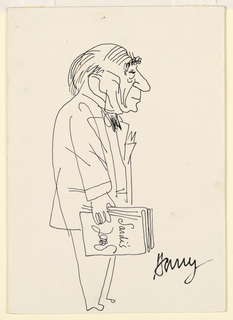 Caricature of a man in right profile, holding a menu at his side in his right hand.