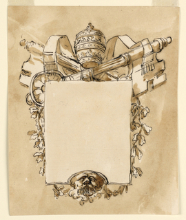 Vertical rectangle. A tablet, the lower edge of which is curved upwards in the center, is supported by a lion's mask. Seemingly in front of the crossed papal keys, and branches hanging from them towards the mask. On top the tiara. Usual background.