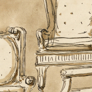 At left and at right are arm chairs, seen from the front. The first is with a cushioned seat, the back with an escutcheon inside, with scrolls above it, as an outer frame. The next chair is similar to the first, with a roll-shaped, S-curved back. Above, at center, is an armchair with a curved back, like that of a mirror frame. To the left, above, is another armchair, similar to the previous.