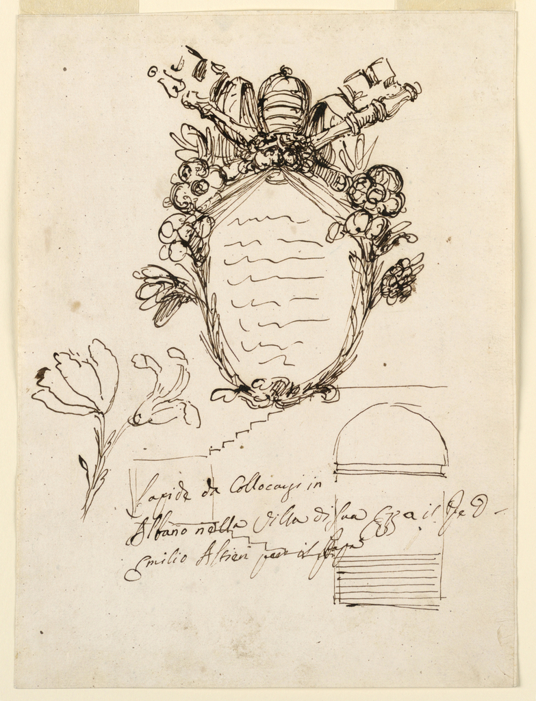"Above: an escutcheon framed by flower stems and above by the crossed papal keys. On top the tiara. Below, at left: a sketch for a flower stem. At right: section of the staircase of a terrace with a square in which the artist wrote the first word of the caption: ""Lapide da Collocarsi in/ Albano nella Villa di Suo E[ccellen]za il P[rinci]pe D[on]/ Emilio Altieri per il Papa""."