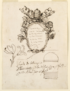 "Vertical rectangle. Above: an escutcheon framed by flower stems and above by the crossed papal keys. On top the tiara. Below, at left: a sketch for a flower stem. At right: section of the staircase of a terrace with a square in which the artist wrote the first word of the caption: ""Lapide da Collocarsi in/ Albano nella Villa di Suo E[ccellen]za il P[rinci]pe D[on]/ Emilio Altieri per il Papa""."