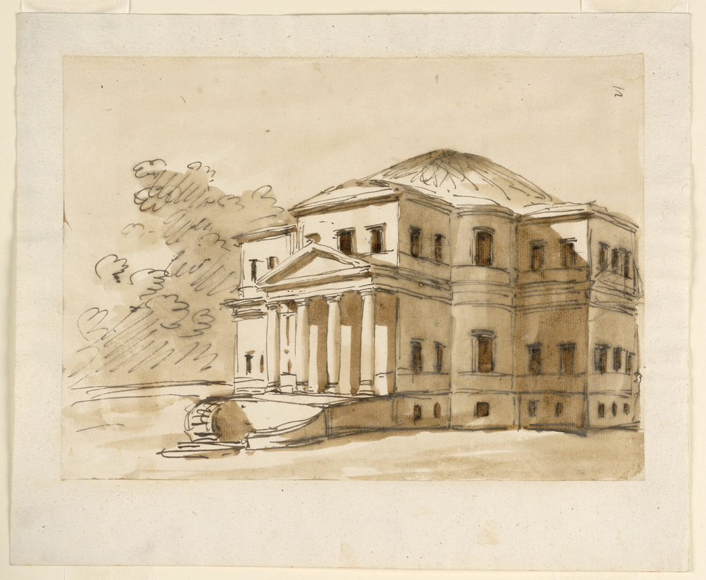 "Two curved flights of stairs lead to the portico of four columns with a triangular pediment. Cross-like plan with convex segments in the corners. Basement and two main stories. Low dome in the center. Trees in the left rear. Right top corner: ""12"", vertically. Possibly for the Villa Poniatowsky."