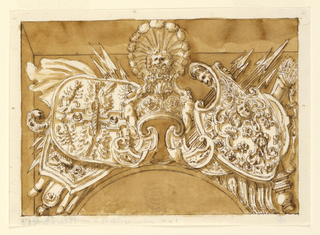 Horizontal rectangle showing a design for a military trophy. At center, a helmet in the antique style with a feathered lion crest. Below are two large shields and clusters of spears. At right, a quiver of arrows.