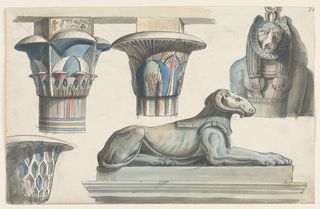 Horizontal rectangle. Three colorful capitals in Egyptian style, statue of a lion with a ram's head shown in profile on plinth, upper part of the statue of a woman with a cat's head.