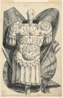 An upright cuirass in front of shields, helmets, and swords