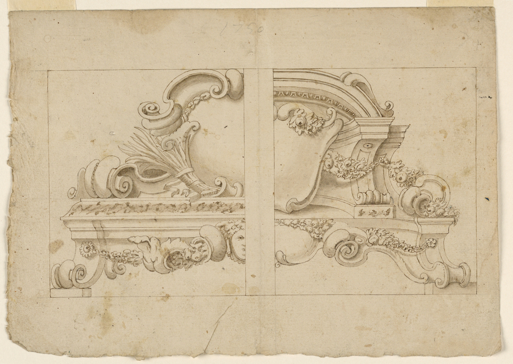 Two designs for architectural ornament. At left, a scrollwork escutcheon stand on a base. At right, a shield escutcheon leans against a parapet.
