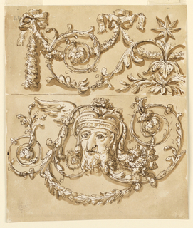 The top half is an assembly of plants and an eight-pointed star is visible to the right. The bottom half depicts a male head with plant ornaments decorating his head. A wing of a bird is visible on the left side of the man's head.