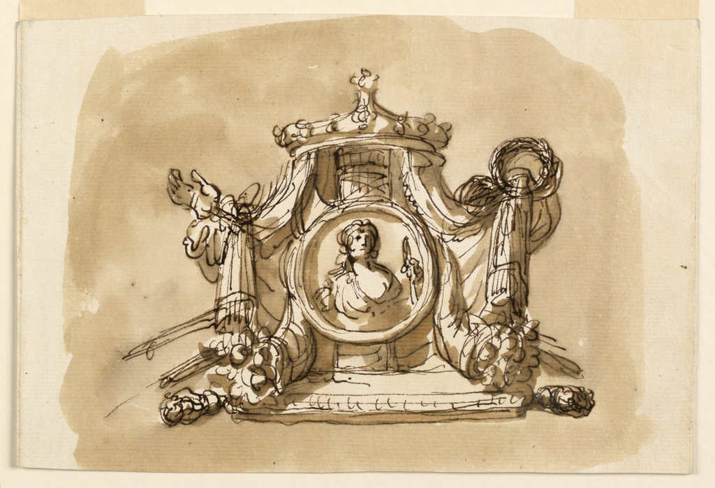 Drawing, Trophy with allegorical figure