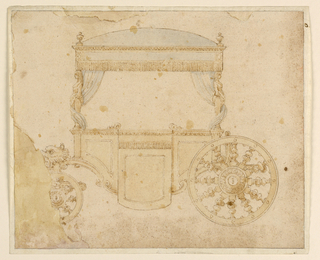 Sketch of a carriage which allowed people to sit facing one another.  Consisted of a rectangular shaped body with a light blue canopied roof.  Frill hands from the top of the canopy as two light blue curtains hand and wrap around poles carved unto standing female figures.  At center a door.