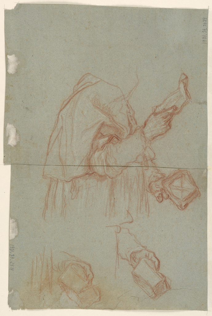 Two separate drawings that were once connected. Lower sheet features two sketches of left hands holding something and the lower torso and left hand of a figure, whose chest and right arm are depicted on the top sheet seen in image.