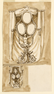 Vertical rectangle. Above: a variation of 1901-39-1447. The curtain pole is partly convex and curved. The three frames are surrounded by a garland, hanging below, toward the center of the support. It consists of a winged female half-figure, standing upon a pole, with two spirals below, from which branches rise. Below, at left: the curtain forms a kind of tent. In front of it is a pedestal, with two animals, shown in profile. From it rise two branches which support the three portraits in the usual disposition. Colored background.
