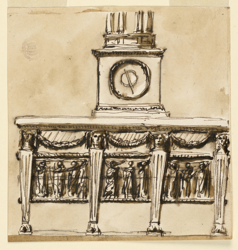 View of a console table. Strait fluted legs with masks. Between these are swags and a frieze. Base of a plinth at top.