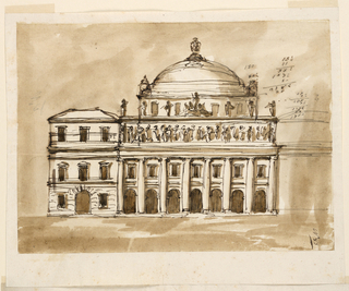 Drawing, Elevation of a town mansion