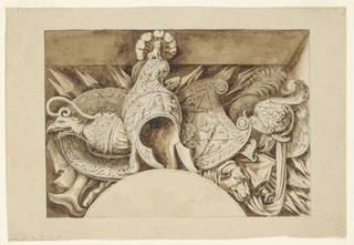 Possible design for an overdoor frieze with ewer, helmet, and military motifs.