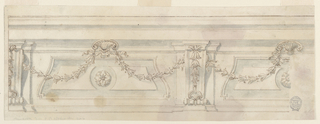 Horizontal rectangle showing an entablature supported by pilasters and volutes. Between these and shell ornaments, festoons are hung. Rosettes in the center of panels; one complete one shown at left and a partial one at right.