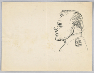 Caricature drawn on the back of a M.L.A. luncheon menu.