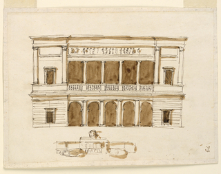 Drawing, Facade of a small palace