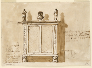 View of a case furniture on lion feet. Panels on side decorated with the suggestion of candelabrum. Two sculptural figures and one bust at center. Writing at left and right.