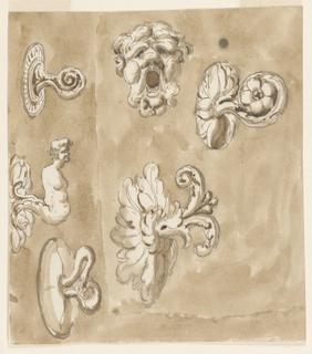 Drawing, Six doorknobs