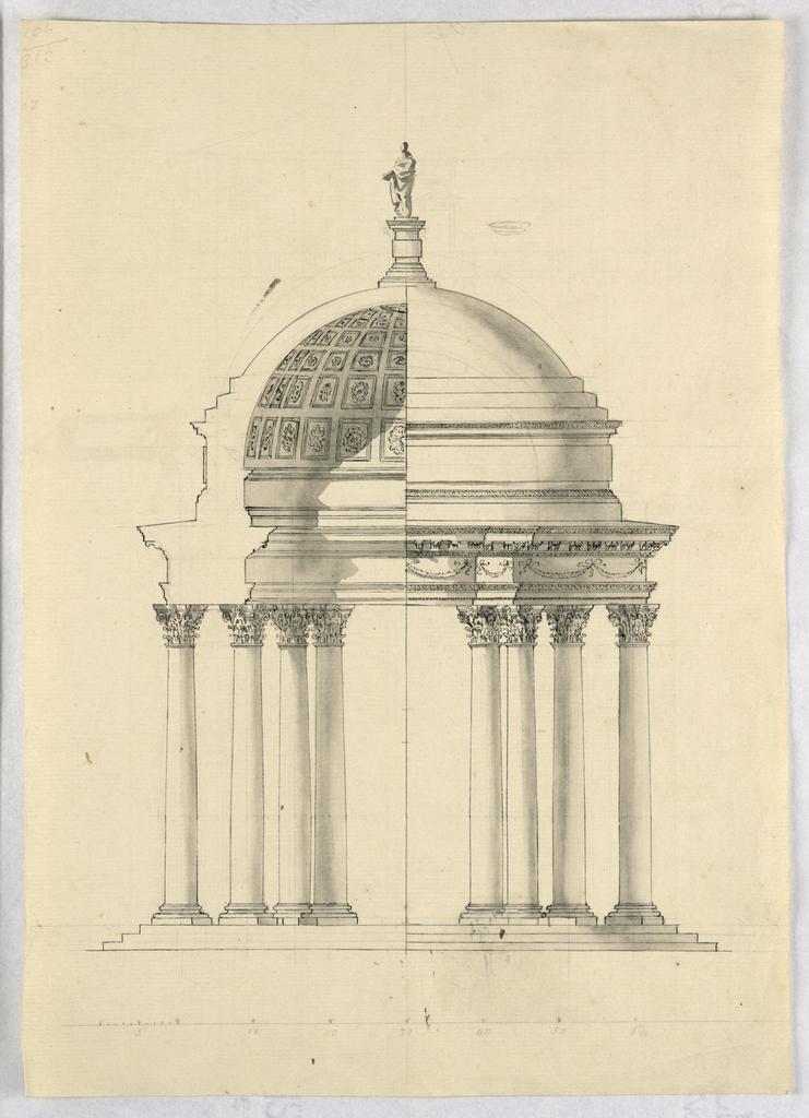 Drawing, Recto: a pavilion; Verso: sketches